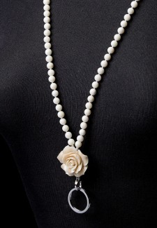 Creamy White Coral Beads with Flower Fashion ID Lanyard