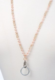 Pink Pearl and Crystal Fashion ID Lanyard