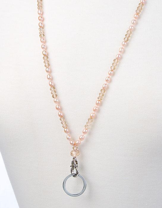 Pearl Lanyard Necklace White Pearl ID Badge Holder Silver Lanyard Pink Pink Crystal Lanyard Unique Lanyard Fashion Access Card Holder