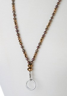 Copper Pearl and Crystal Fashion ID Lanyard