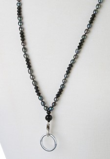Black Pearl and Crystal Lanyard