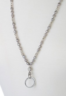 Gray Pearl and Crystal Fashion ID Lanyard