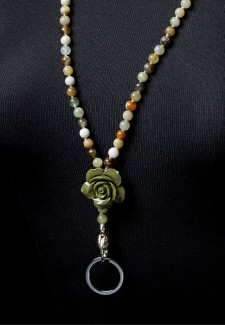 Multi-Colored Jade Fashion ID Lanyard with Acrylic Green Flower