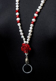 White Pearl & Red Crystal Flower Fashion ID Lanyard