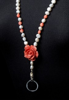 White Pearl & Pink Coral Flower Fashion ID Lanyard