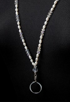 White Pearl and Crystal Fashion ID Lanyard