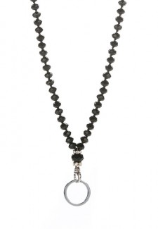 Black Crystal Fashion ID Lanyard