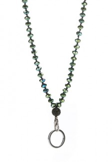 Metallic Green Crystal Fashion ID Lanyard