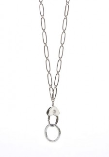 White Heart with Silver Tone Chain Fashion ID Lanyard