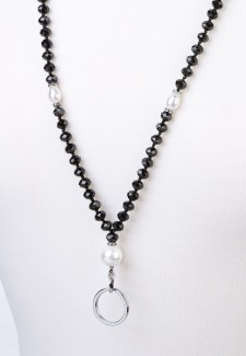 Black Crystal and White Pearl Fashion ID Lanyard