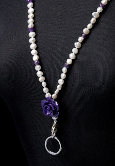 White Pearl & Amethyst with Purple Flower Fashion ID Lanyard