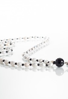 White Pearl and Black Crystal Fashion ID Lanyard