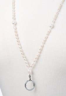 White Pearl and Crystal Fashion ID Lanyard #2