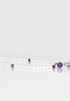 White Pearl & Amethyst Fashion ID Lanyard