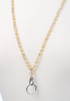 Champagne Pearl and Crystal Fashion ID Lanyard