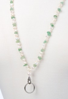 White Pearl and Jade Chip Fashion ID Lanyard