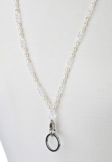 White Pearl & Clear Crystal Fashion ID Lanyard