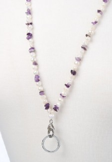White Pearl and Amethyst Chip Fashion ID Lanyard