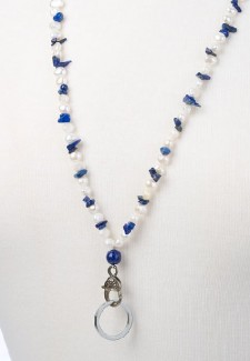White Pearl and Lapis Chip Fashion ID Lanyard
