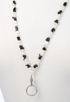 White Pearl and Onyx Chip Fashion ID Lanyard