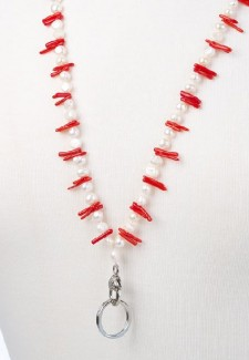 White Pearl and Red Coral Chip Fashion ID Lanyard