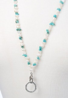 White Pearl and Turquoise Chip Fashion ID Lanyard