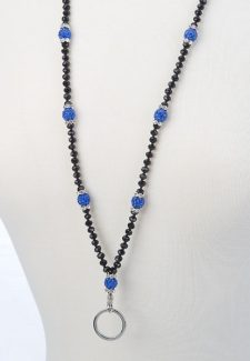 Black Crystal with Blue Shamballa Ball ID Lanyard